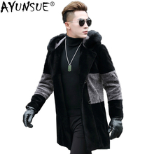 AYUNSUE, мужское пальто из натурального меха, Овечья овчина, мужская зимняя куртка, кожаная куртка с капюшоном, воротник из лисьего меха, ветровка, длинное шерстяное пальто 8725 KJ814