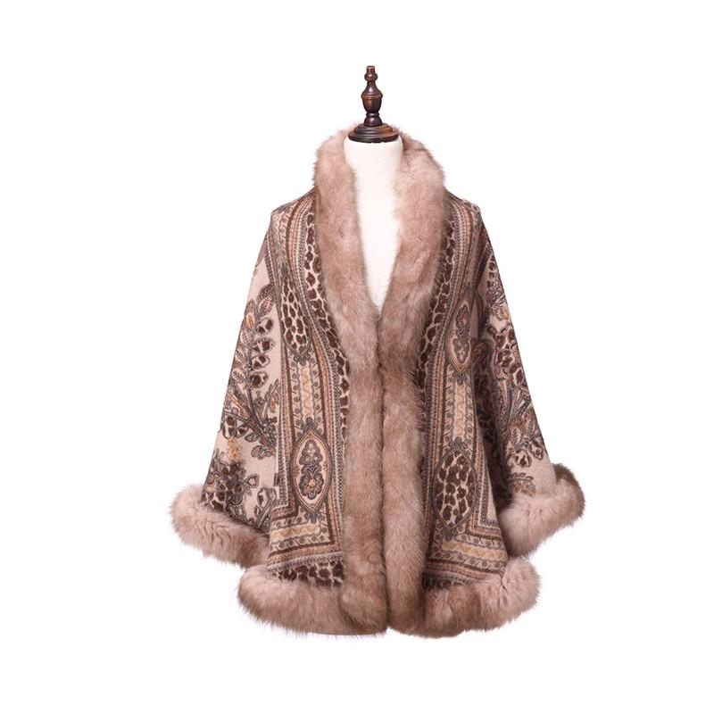 ZY87040 Special Design Luxurious Cashmere Arc Shaped Fox Collar Print Winter Christmas Women Shawl Wraps Pashmina