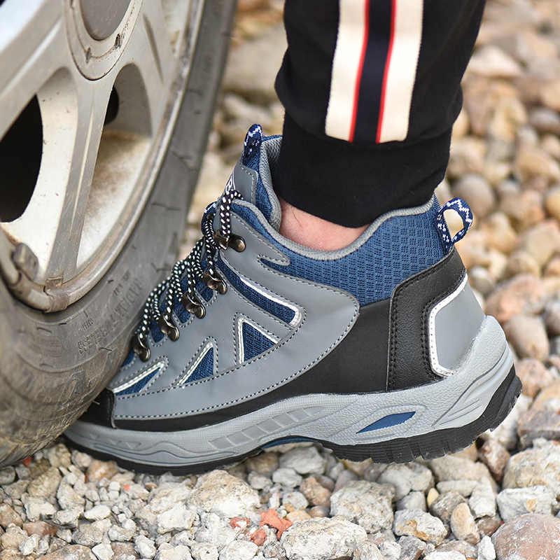 2019 Yeni Erkek Inşaat Açık Yüksek Top çelik burun güvenlik botu Ayakkabı Erkekler Delinme Geçirmez iş ayakkabısı Kışlık Botlar