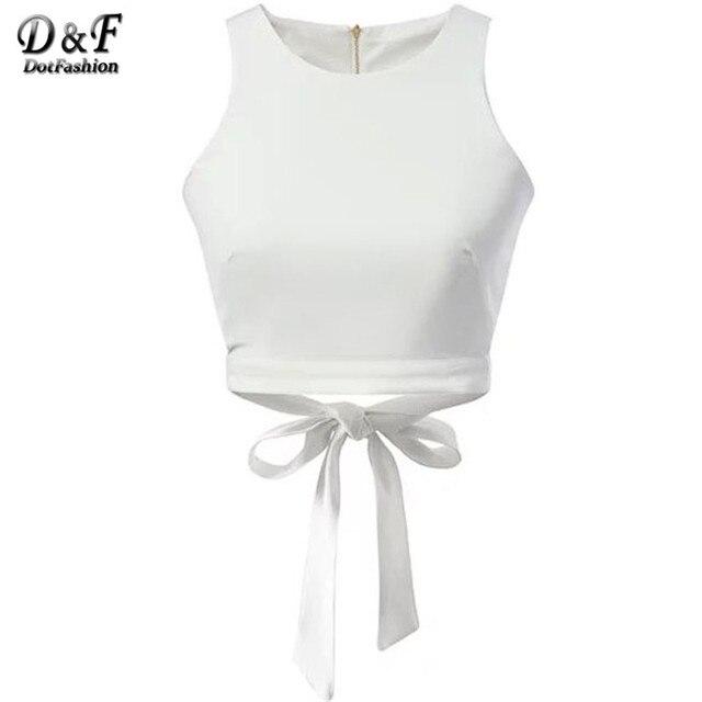 Dotfashion женщин лето сексуальное урожай вершины 2016 новое поступление свободного покроя стиль для девочек белый молния с бантом майка