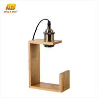 [MingBen] מודרני מנורת שולחן מנורת שולחן מעץ מיני לילה מידע בעל E27 אורות ספר רטרו המיטה מנורה לחדר שינה