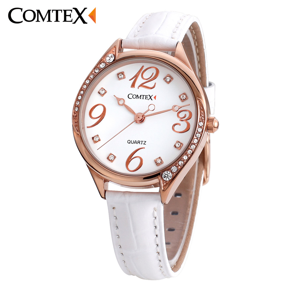 Comtex Watches Women White Leather Rose gold Case Fashion Crystal Ladies Watch Quartz Wristwatch Luxury Brand Watch Girl Clock hot sale luxury crystal rose gold high quality leather quartz gift watch wristwatch for women ladies girls 1 year warrenty