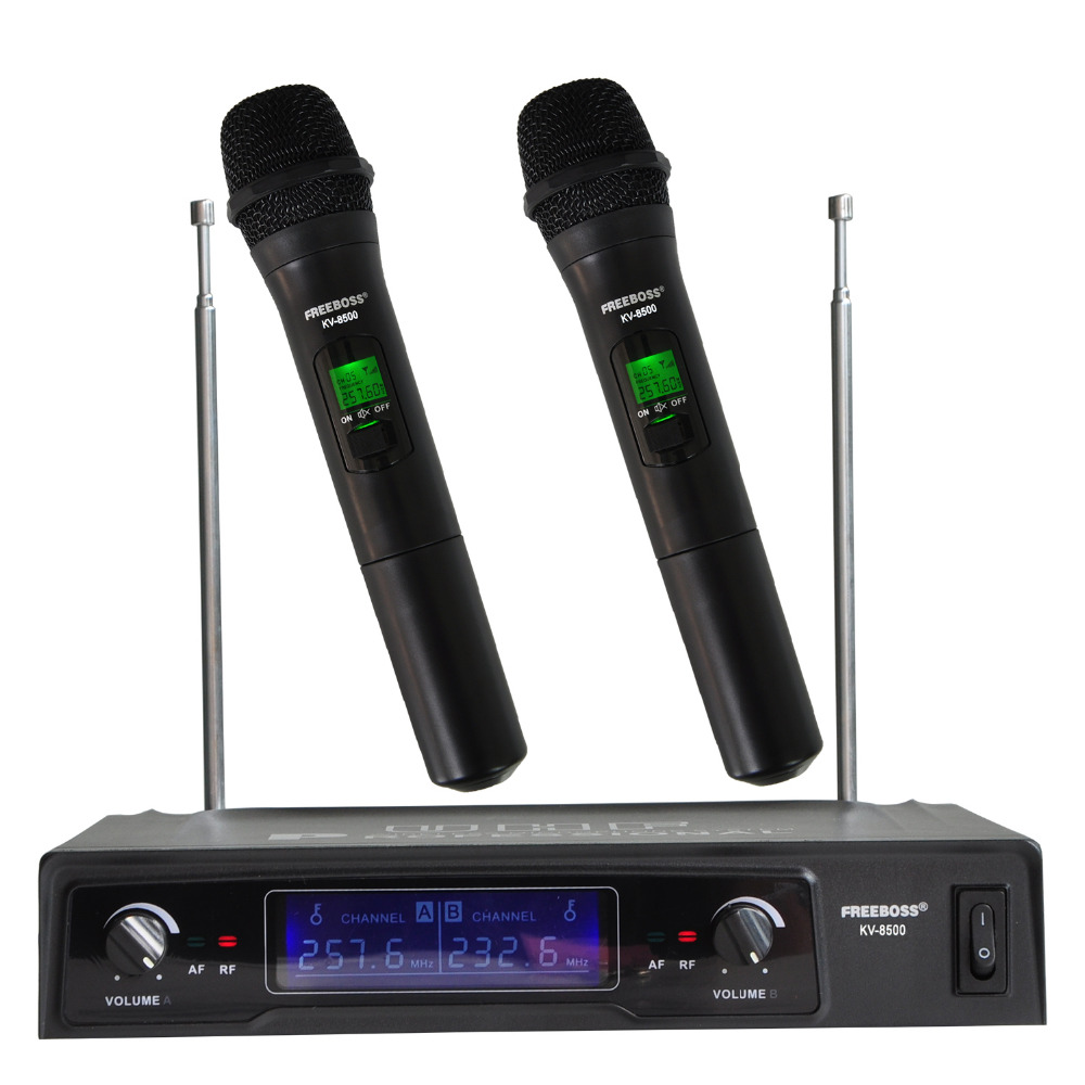 Freeboss KV-8500 VHF Handheld Microphone Wireless Handheld Dual Channel Mbajtëse Karaoke Mikrofoni Partia Familjare Micless Wireless