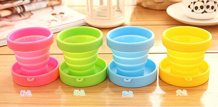 Portable silicone pliable eau Tasse Candy Color Silicone Voyage Pliable Cups