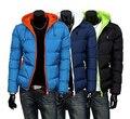 2016 mens jaqueta de inverno homens encapuzados wadded casaco de inverno espessamento outerwear macho magro ocasional algodão-acolchoado outwear 5 cores