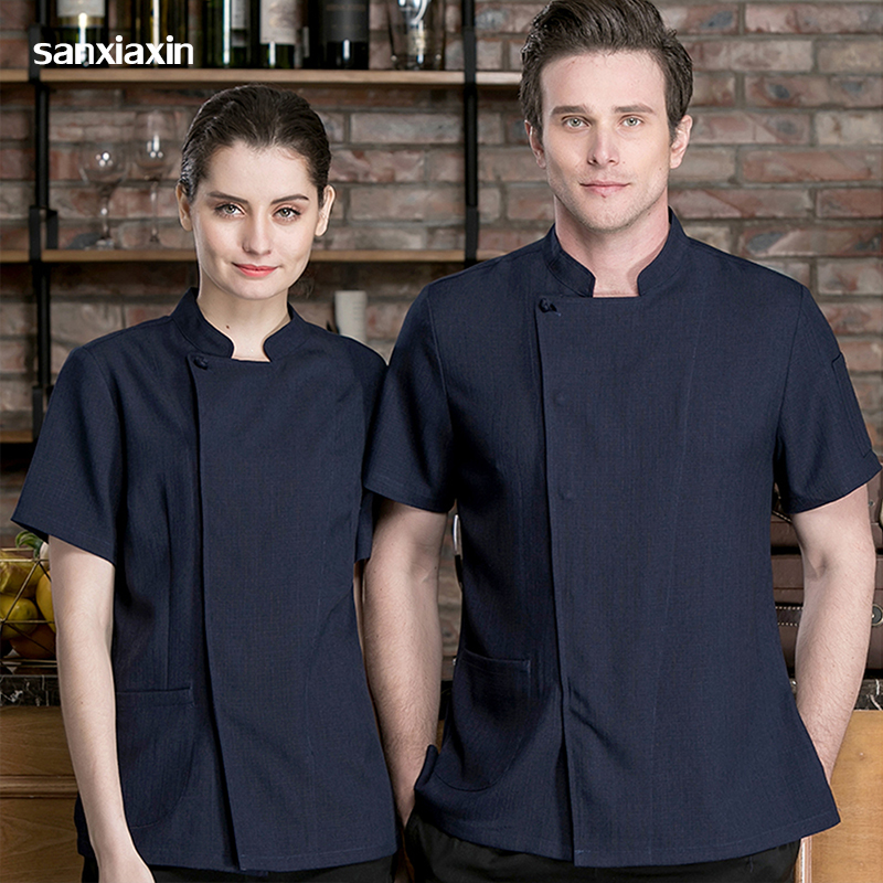 New Unisex Chef Restaurant Uniform Cook Chef Uniform Short Sleeve Kitchen Work Wear Breathable Food Service Chef Jacket Apron
