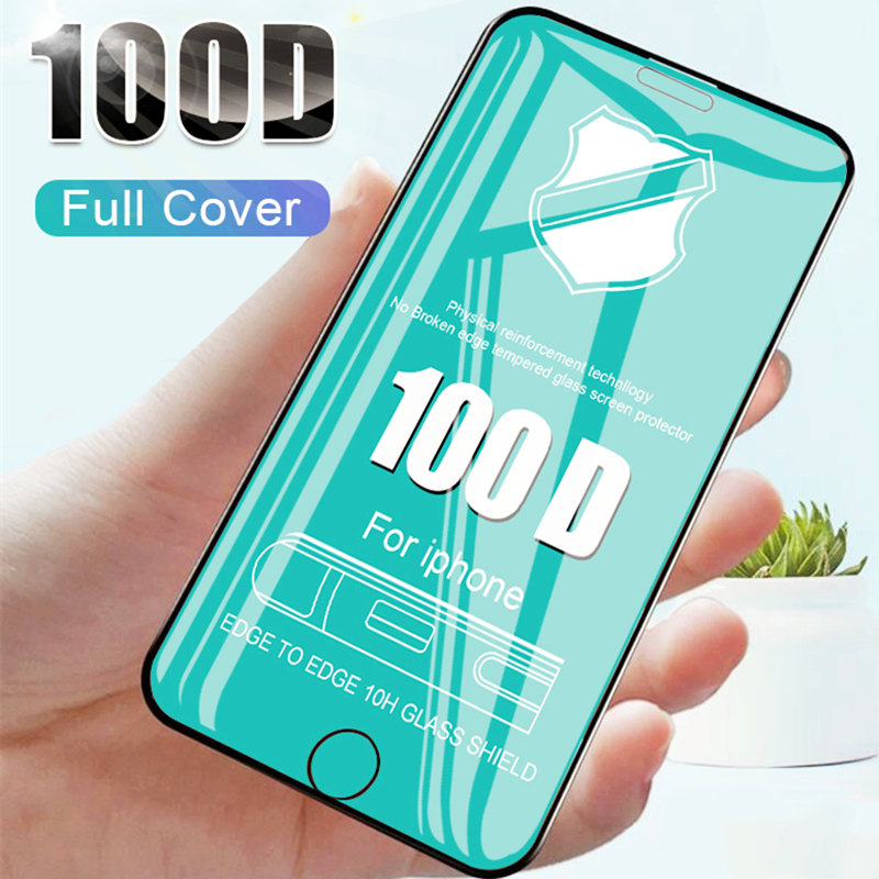 100D Curved Edge Full Cover Tempered Glass Film On The For Apple IPhone 6 7 8 6S Plus X XR XS Max Screen Protector Glass Film