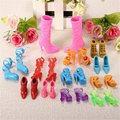 12Pairs/Set Plastic Shoes Heels Sandals For Fashion Dolls Accessories Colourful Children Girl Favor Different Style Kids Toy