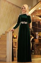 A-line With Hijab Dark Green High Collar Long Sleeve Velvet Casual Embroidery Long Sleeve Muslim Silk Gown Evening Dress