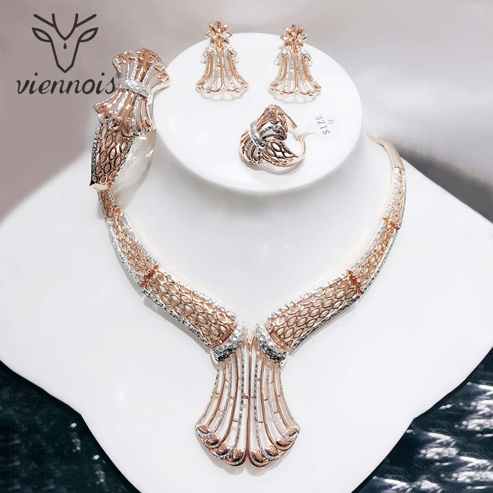 Viennois Mix Silver/ Rose gold Color Stud Earrings Big Hollow African Jewelry Set for Women Jewelry Sets New viennois gold silver color jewelry set for women round stud earrings choker necklace cuff bracelet