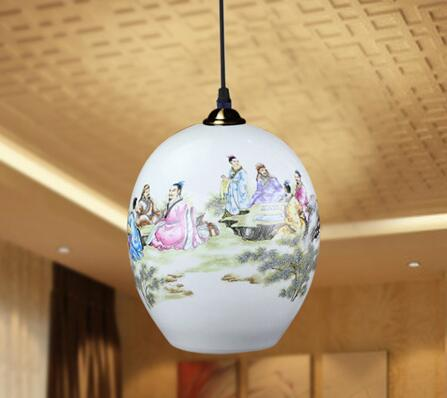 Chinese Style Living Room Restaurant  Dining Room LED E27 90-260V Ceramic Vintage Pendant Light Big Ball Hanging Light modern crystal chandelier led hanging lighting european style glass chandeliers light for living dining room restaurant decor