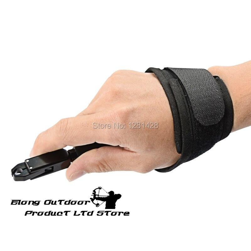 Nuevo Elong Outdoor negro Color tiro con arco calibrador liberación ayuda compuesto arco Correa tiro Pro flecha disparador pulsera arco