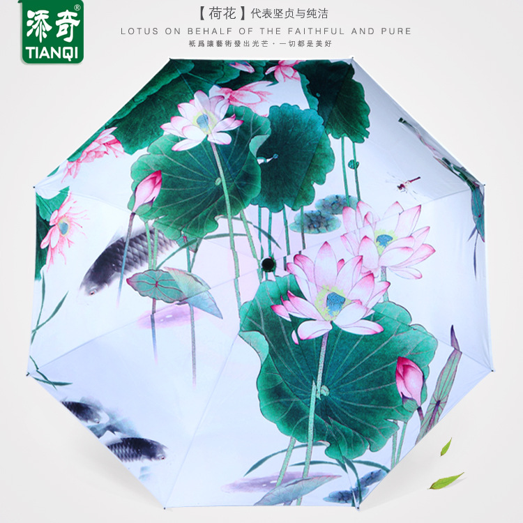 Lotus Umbrella Rain Women Folding Umbrellas Chinese Style Umbrella Female  Sunny Parasol Lovely Paraguas
