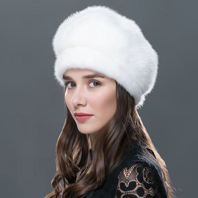 Verdadeiro chapéu de pele de vison para mulheres inverno russo chapéus de malha ocasional gorros de pele grosso cap cap fêmea 2016 de alta qualidade venda quente