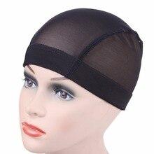 Stretchable Cornrow Wig-Caps Mesh-Net Hairnet Elastic Nylon Dome Black Easier Sew in