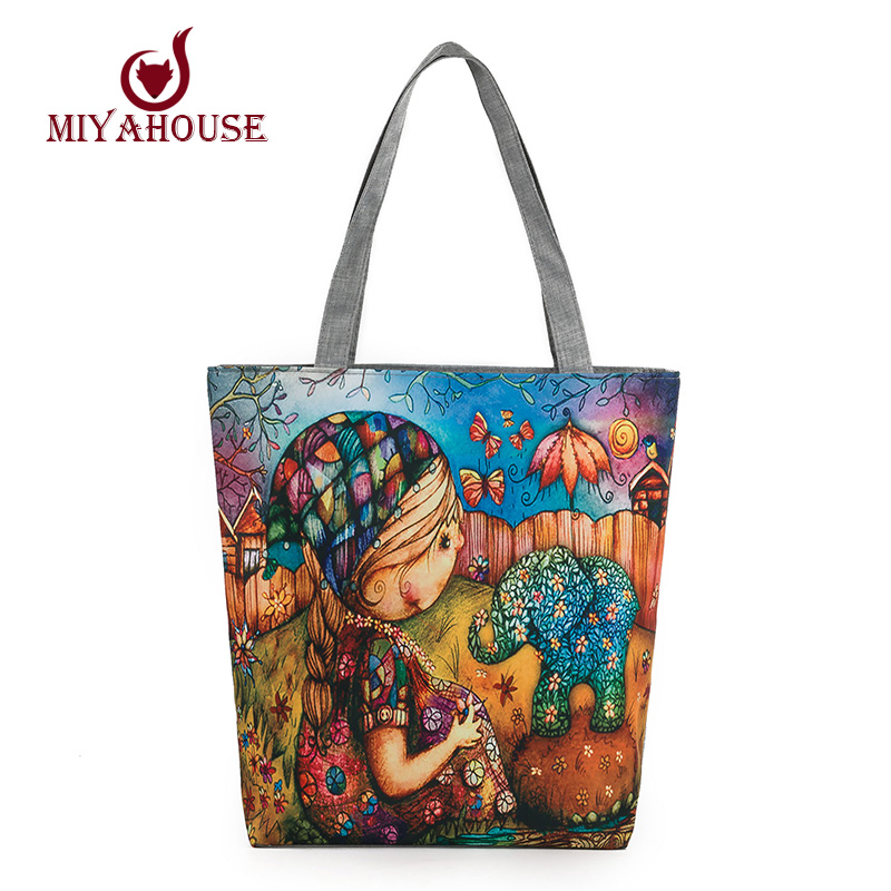 Large Capacity Female Single Shoulder Bag Characters Printed Canvas Tote Handbags Daily Use Canvas Shopping Bag Women Beach Bags forudesigns casual women handbags peacock feather printed shopping bag large capacity ladies handbags vintage bolsa feminina