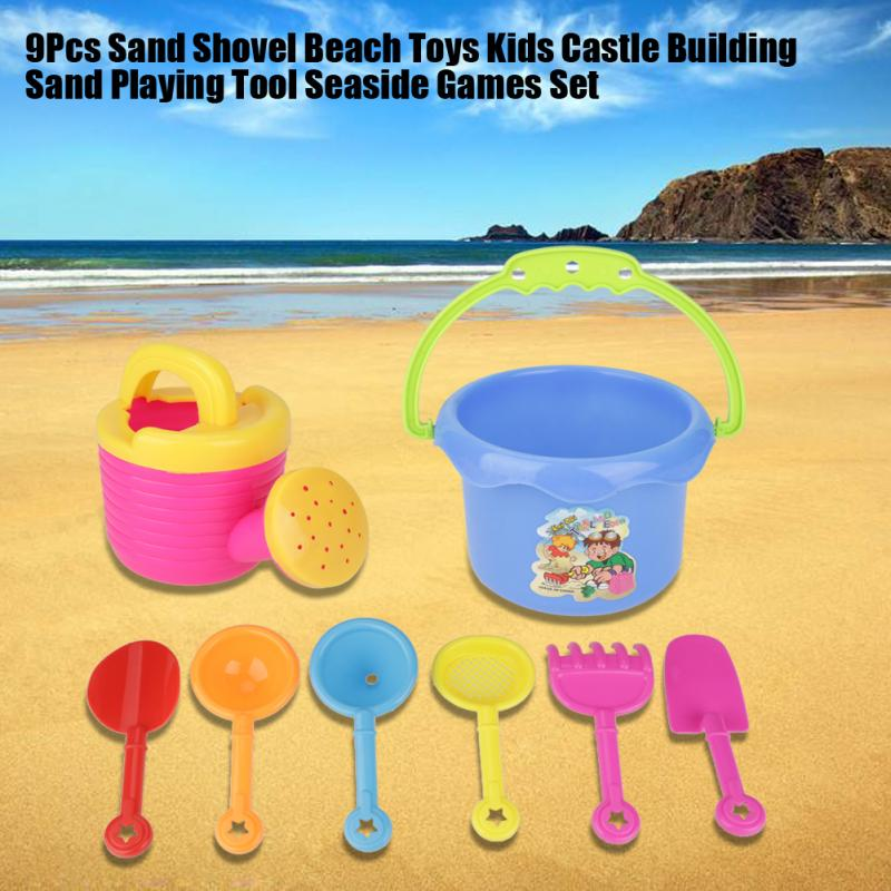 9Pcs/Sets Kids Beach Toys Sand Shovel Water Play Beach Toys New Kids Seaside Castle Building Sand Playing Tool Toys For Children