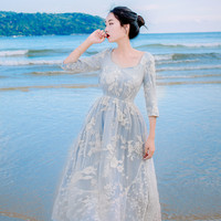 2017 Summer Women Dress High Quality 3 4 Sleeve Light Blue Embroidery Lace Dress Beaded Elegant
