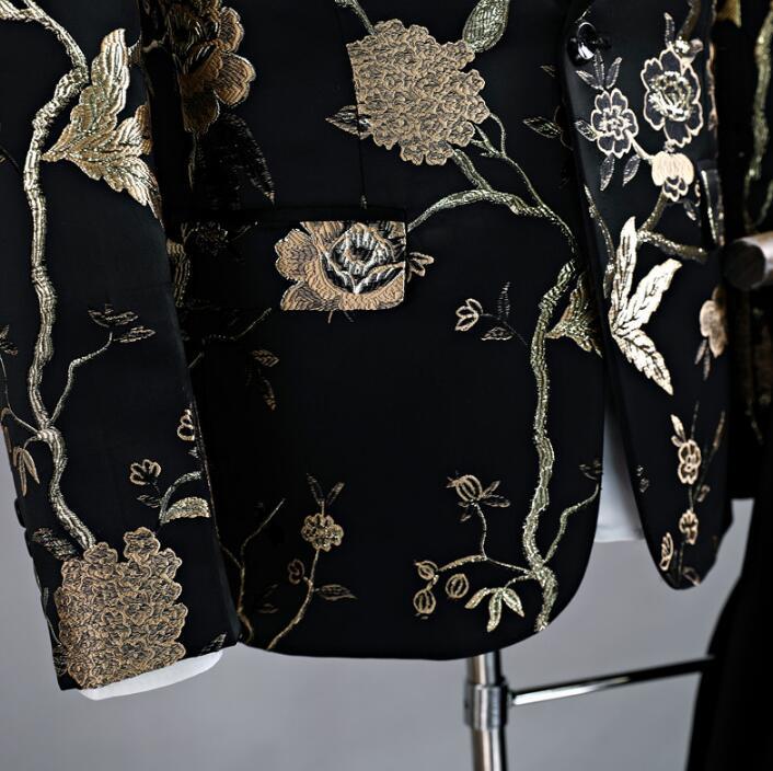 Певица Стиль Танцевальная сцена Одежда для мужчин шаблон костюм комплект со штанами мужские свадебные костюмы костюм жениха формальное платье галстук черный - 3
