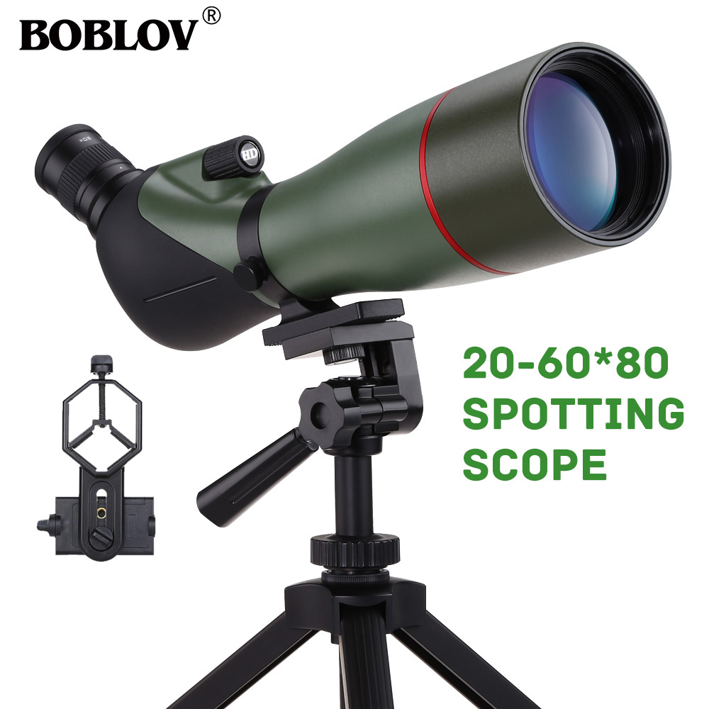 BOBLOV 20-60X80 Spotting Scope Waterproof Scope For Bird Watching Target Shooting Archery Range Outdoor Activities With Tripod