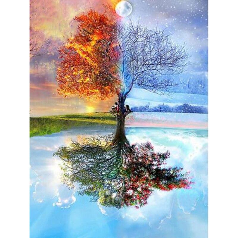 Полный DIY 5D алмазная живопись сезоны дерево вышивка крестиком Алмазная вышивка шаблоны Алмазная мозаика YY