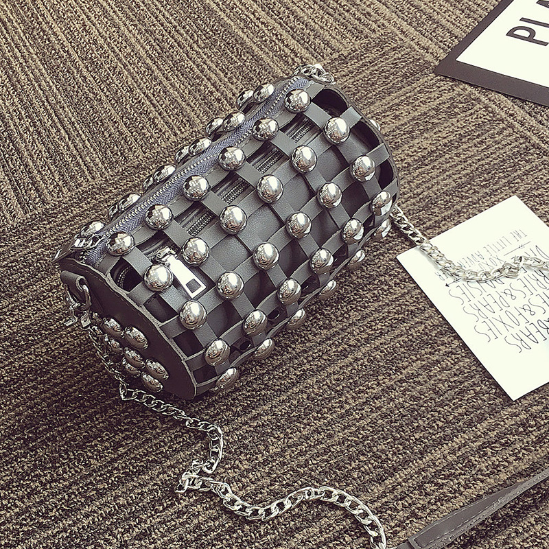 Punk Style Women Rivets Cross-body Chain Mini Shoulder Bags Hollow Out Composite Messenger Female Leather Small Bag