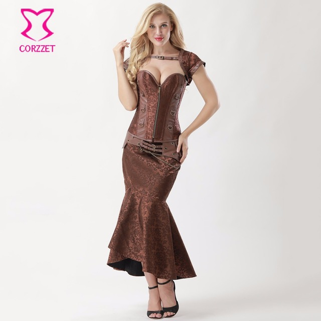 Brown Floral Brocade Steampunk Corset Dress Gothic Clothing Sexy Bustier  and Long Skirt Set Burlesque Dresses b33f04c3b310