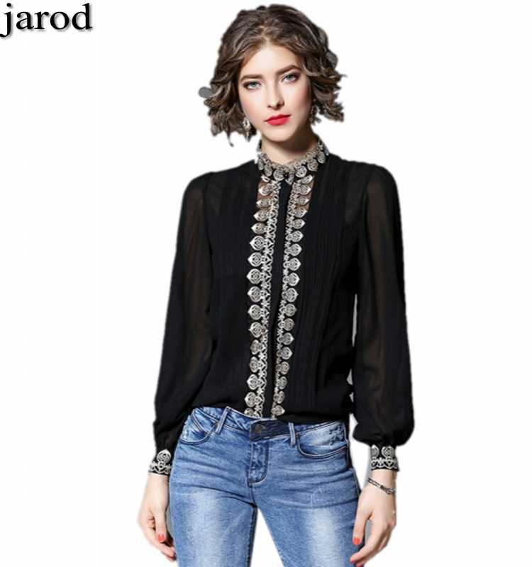 High quality spring Runway woman Lantern Sleeve Black white Embroidery   Blouse     Shirt   S-XXL