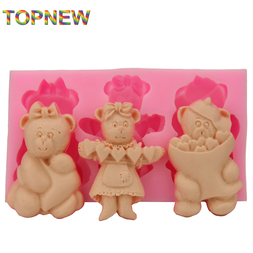 Cute 3 Bears Silicone 3D Cake Molds Non Stick Sugar ...