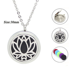 20mm 25mm 30mm magnetic essential oil diffuser necklace 316l stainless steel lotus shape aromatherapy pendants jewelry