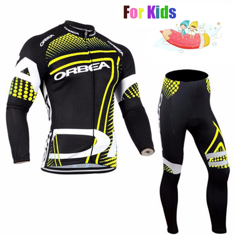 ORBEA Professional Customization Long Sleeve Children Cycling Jersey Set Quick Dry Kid Riding Suit with Pad Ropa Ciclismo Kit