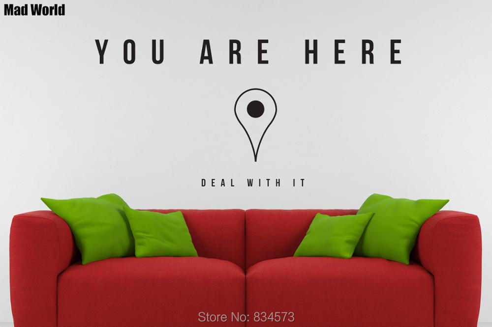 Mad World You Are Here Tech Funny Maps Pin Wall Art Stickers: Mad World Map At Infoasik.co