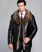Men's Brand Luxury Fur Leather Jacket Man Winter Coat Warm Leather Outwear New 2016 Fashion veste cuir homme jaqueta de couro
