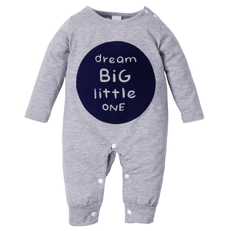 Autumn Baby Clothing Infant Kids Boys Girls Romper Cute Letter Printed Long Sleeve Playsuit Pajamas Toddlers One Piece Jumpsuit puseky 2017 infant romper baby boys girls jumpsuit newborn bebe clothing hooded toddler baby clothes cute panda romper costumes