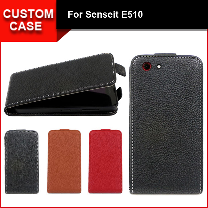 Luxury flip vertical cover bag flip up and down PU Leather Case for Senseit E510, free gift