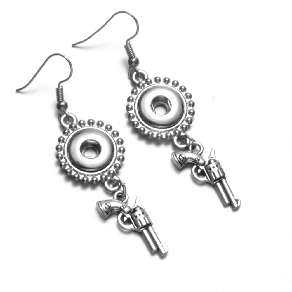 Revolver Charms Earrings For Interchangeable 12mm Snap Button Snap Jewelry Drop Snap Earrings ES0239 image