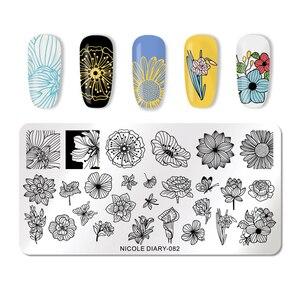 Image 5 - نيكول يوميات مسمار الفن ختم لوحات هندسية الزهور متعددة نمط مسمار الفن ختم قالب الإستنسل أدوات
