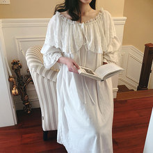 Womens Lolita Princess Sleepshirts Vintage Palace Style Dress Wide Lace Nightgowns.Cotton Victorian Nightdress Sleep Loungewear