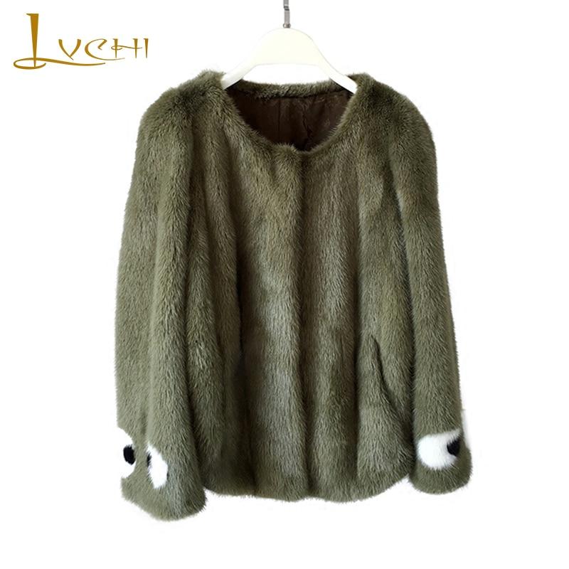 LVCHI 2019 Real Mink Fur Coats Women's Coat Full Pelt Causal Cartoon Eye Pattern Long Sleeve Green Soft Slim Fashion Mink Coats