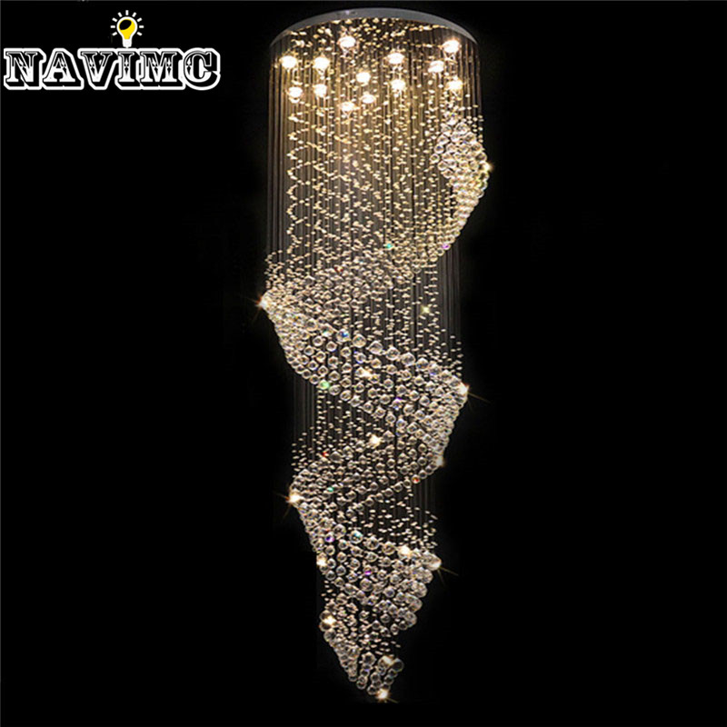 Modern Spiral Crystal LED Ceiling Lights Large Staircase