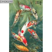 Full Square 5D Diy Diamond Painting Carp Embroidery Cross Stitch Rhinestones Fish Mosaic Picture Home Decoration