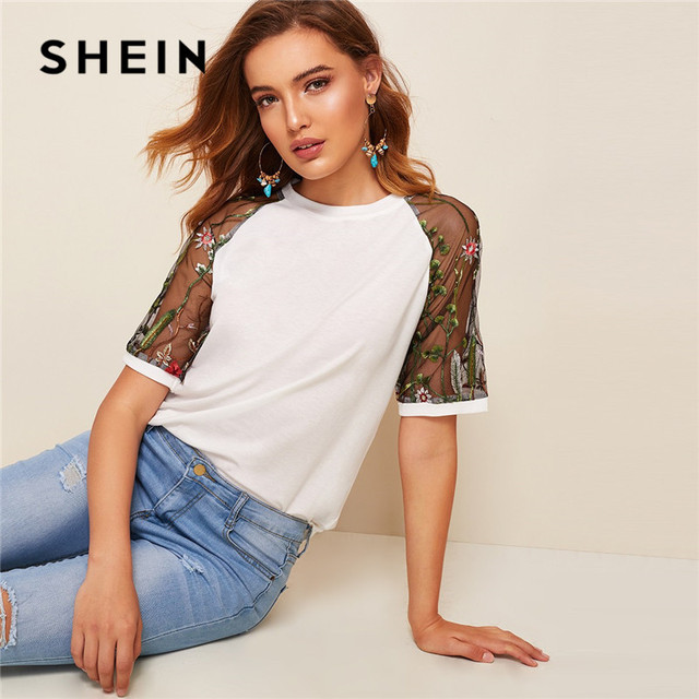 09e2d785a82435 SHEIN Embroidery Sheer Sleeve White T Shirt Women Casual Short Sleeve Round  Neck Mesh Top Summer Solid Raglan Sleeve Tshirt