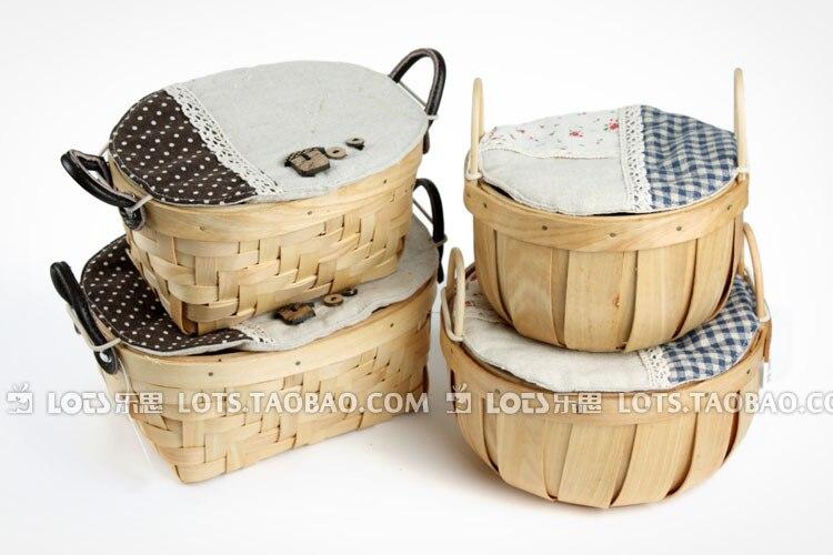 Handmade Cotton Baskets : Zakka japanese style wood chip basket preparation of
