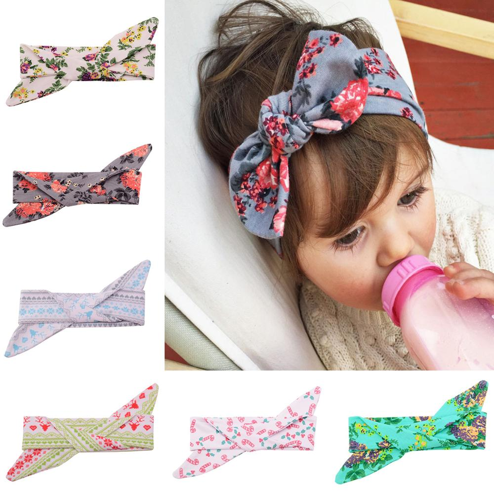 VTOM BABY Lovely Bowknot Elastic Head Bands for Baby Girls Headband for Children Tuban Baby Baby Accessories Floral Hair Earband