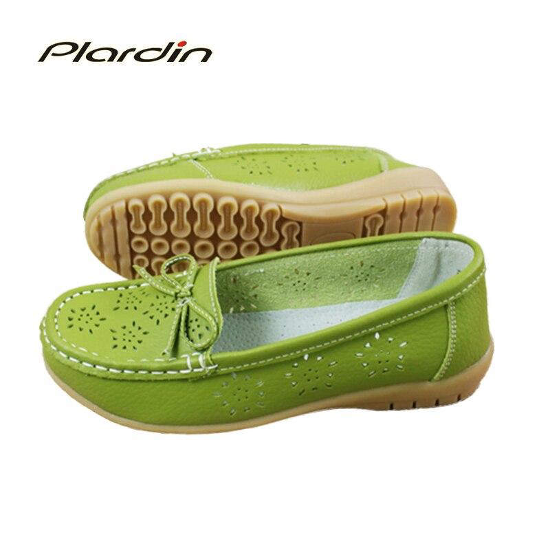 Plardin 2017 recortes Recortes Zapatos Planos de Cuero Genuino Mujeres Zapatos d