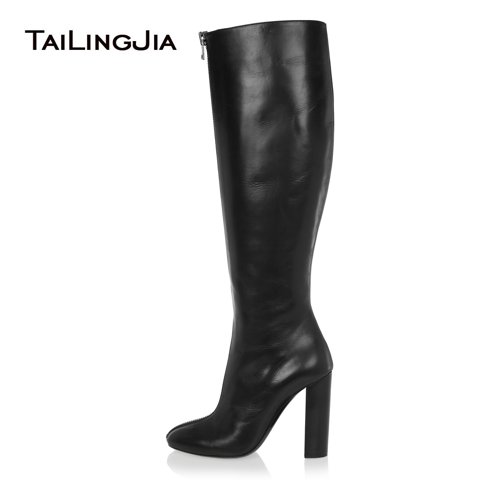 2018 Femmes Noir Genou Haute Bottes Bout Rond Chunky Talon Avant Fermeture Éclair À Talons Hauts Élégant Longues Bottes Dames D'hiver Chaussures plus la Taille