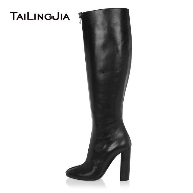 2018 женские черные сапоги до колена, с круглым носком, на массивном каблуке,  с 66f1cbbecc0