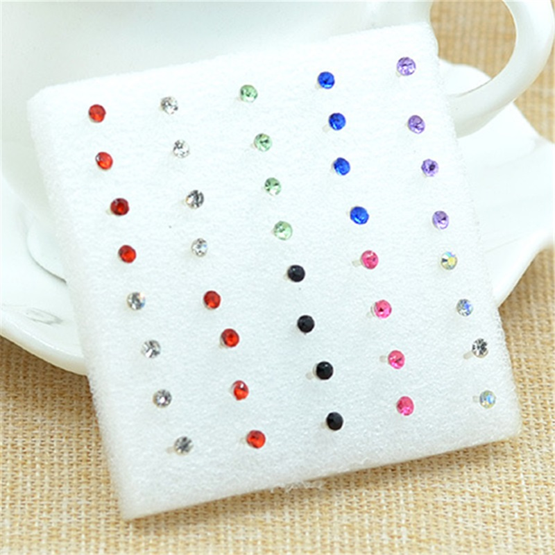 Grosir 20 Pairs / pack Mode Multicolor Putaran Berlian Imitasi Kristal Plastik Hypoallergenic Stud Earrings Wanita Gadis D-249
