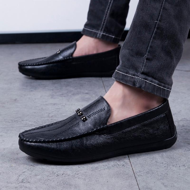 2082 Cuir Noir Hommes De Mocassins Nouveau Homme On En white 2019 Confortable Slip Chaussures Décontracté Gris Disque Black Conduite SVUzMp