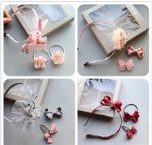 Cartoon Rabbit Hair Band Flower Bow Hairpin Kids Hairband Headwear  elastic hair ties rubber bands Girls Accessories TZ10